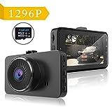 Dash Cam-ips Voiture DVR Camera Recorder avec caméra Full HD 1296P 170degrés objectif grand angle Caméra de tableau de bord avec accéléromètre, WDR, vision nocturne, enregistrement en boucle, 16GB Incluent.