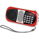 eJiasu Mini Digital Radio FM portátil de tarjetas TF Receptor Apoyo reproductor de música MP3/USB Puerto de salida /Pantalla LED/linterna /auriculares/entrada de audio/cordón para el iPhone iPod PC (rojo)