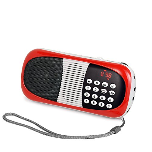 eJiasu Mini-MP3-Musik-Audio-Player Digital FM-Radio mit USB-Anschluss TF Micro SD-Karten-Slot (Rot)