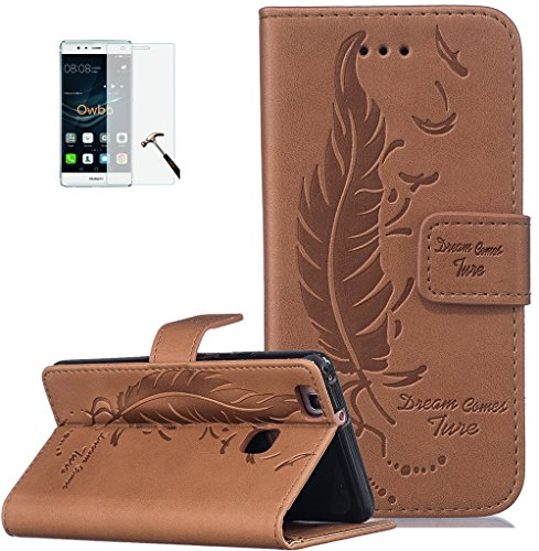 ISENPENK Huawei P9 Lite(2016) Flip Case,Original Flip Bookstyle Cover Wasserdicht Shockproof Anti Slip Protection Leather Case,Feder Print Muster Pattern Wallet Case mit Intern Karte Schlitz,Anti-Sturz Stoßfest Stoßdämpfend Triangle Hemming Wallet Tasche,Magnetic Closure Schutzhülle mit Standfunktion und Handy Gürtel für Huawei P9 Lite(2016) 5.2Zoll-[braun]+Panzerglas Folie/Displayfoile/Displayschutzfolie