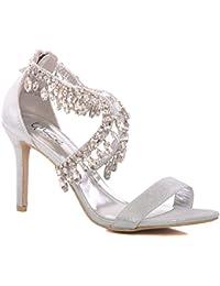 Unze Nouveau Femmes Ladies 'Reenam' Diamante Embellished Lace Up Faible Mid Talon Haute Soirée, Mariage, Prom Party Chaussures Sizes 3-8