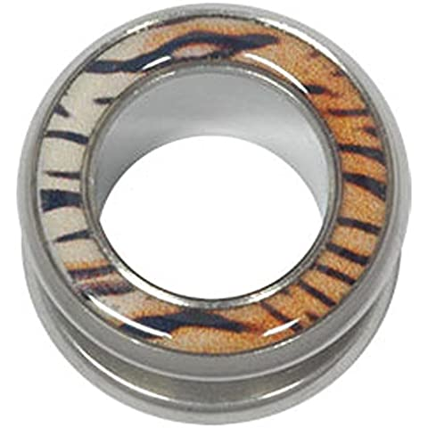 Chirurgico Tunnel acciaio Halo Flesh - Tiger Print 18mm