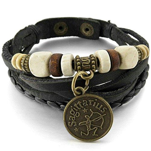 Adisaer Edelstahl Armbänder Herren Armreifen Charms Armband Schwarz Gold Horoscope Zodiac Perlen Einstellbare (Piraten Teen Kostüme)