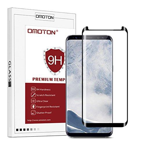 OMOTON Galaxy S8 Plus Cristal templado, 3D Cobertura Completa[9H Dureza][99,9% Transparente][Anti-aceite] Garantía de por Vida, Protector de Pantalla Samsung Galaxy S8 Plus, Negro