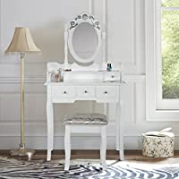 LIFE CARVER White Dressing Table Set with Stool Mirror 5 Drawers Makeup Desk Bedroom