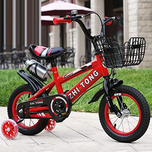 """KY Kinderfahrrad Kinder Kinder Bike In Größe 12"""" 14"""" 16"""" 18"""" mit Stabilisatoren und Basket, Wasserflasche (Color : Red, Size : 12inch)"""