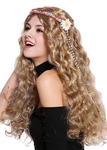 WIG ME UP - 91298-ZA7 Perücke Damen Herren Karneval Halloween Blumenkind Hippie 60er 70er lang Hell Braun wellig Mittelscheitel Stirnband Blume