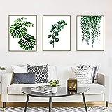 Set de 3 Affiches Vert Tropical Plante Feuilles Toile Art Poster Décoration Murale Nature Tableau Moderne Design Impressions sur Toile Affiche Deco Salon PTLS002-M