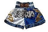 Nakarad Pantalones Cortos de Muay Thai (Blanco/Azul, M)