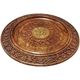 Khandekar Wooden Handmade Round Plate Tea/Coffee Serving Tray With Beautiful Carving Flower Design Foods Organizer Use Hotel/Home/Restaurant Size 13 Inch