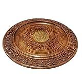 IndiaBigShop Handmade Classic Holztablett für Serve Ware Küche Zubehör mit Blumen Design & geschnitzt Messing Inlay - 12 Zoll