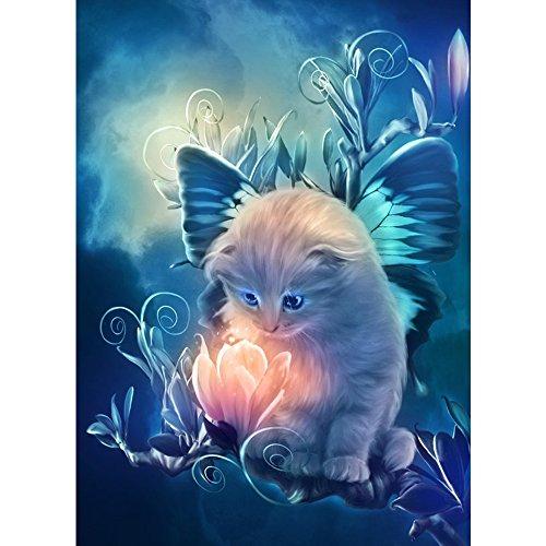 TONVER Stickerei Kreuzstich-Set, 5D-Diamant-Gemälde, niedliche Katzen-Motive, Mosaik-Art-Bilder, Wand-Dekoration für Zuhause, Wohnzimmer, 30 x 25 cm