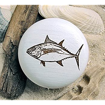 Möbelknauf Tunfisch Möbelknopf Fisch Tuna Holz graviert