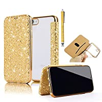 iPhone 8 Cover,Wallet Case For iPhone 7, Vandot 3D Bling Flakes Luxury Ultra Thin Slim Fit PU Leather Flip Stand Front & Soft TPU Crystal Clear Back Case Electroplating Bumper Drop Protection Practical Cover For iPhone 8 / iPhone 7 4.7 inch-GOLD + Diamond