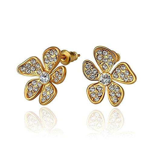 BeyDoDo Schmuck 18K Vergoldet Ohrringe Damen Ohrstecker mit Zirkonia Blume Weiß Kristall Gold Ohrringe