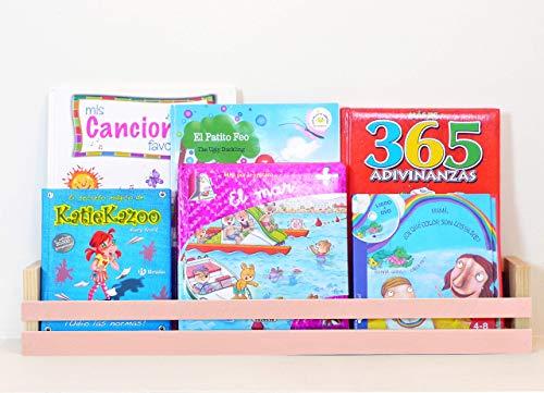 Estantería para libros infantiles | Expositor | Chalk Paint color Rosa- madera maciza