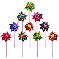 10 molinillos de viento de plástico de juguete para niños o como decoración para jardín o para fiestas