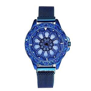 Damen Uhren Armbanduhren, Bloodfin Mode Diamant Mesh Strap Damenuhren Wasserdichte Watches Quarzuhr mit Edelstahl Uhrenarmbänder Schnalle Geschenk für Frauen Damen