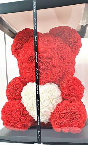 Blumenhandel Nadir Gezer Rote künstliche Rosenbären mit weißem Herz 40cm inklusive Geschenkbox - Rose Bear with Heart 40 cm incl. giftbox (Rot)