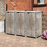 Hide Mülltonnenbox, Mülltonnenverkleidung, Gerätebox Natur grau // 181x63x115 cm (BxTxH) // Aufbewahrungsbox für 3 Mülltonnen 140l Volumen