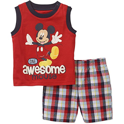 Madras Plaid Shorts (Disney Mickey One Awesome Mouse Baby Boys Tank Top and Shorts Outfit Set (0-3 Months))