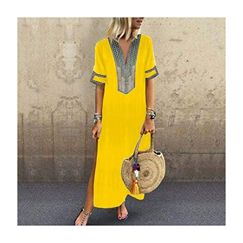 a4a840b4899151 PLOPYSE& New Womens Sleeveless Boho Party Casual Linen Kaftan Maxi Dress  Long Dresses Yellow 5XL UK
