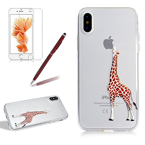 Transparent Silikon Hülle für iPhone X, Girlyard Weiche TPU Bumper Case mit Niedlich Giraffe Muster Entwurf Ultra Dünn Flexible Crystal Clear Backcover Anti-Kratz Anti-Fingerabdruck Schutzhülle für Apple iPhone X