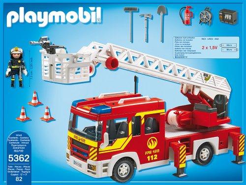 RC Auto kaufen Feuerwehr Bild 2: PLAYMOBIL 5362 - Feuerwehr-Leiterfahrzeug mit Licht und Sound*