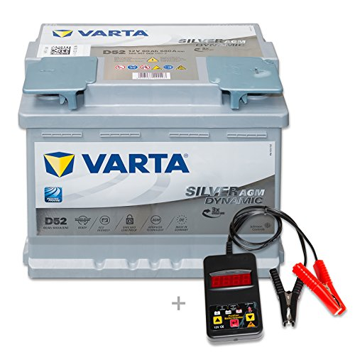 Varta Start Stop AGM D52 - 12 V / 60 Ah - 680 A/EN inkl. Batterietester