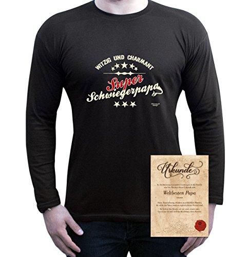 bequemes T-Shirt Herren Männer Motiv Super Schwiegerpapa Geschenk-Idee, Vatertag, Weihnachten langarm Outfit, Kostüm Farbe: schwarz Schwarz