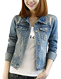 Yasong Women Girls Slim Fitted Button up Long Sleeve Denim Light Wash Faded Ripped Cropped Jean Jacket
