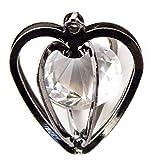 HAND H0658 Diamant Pendentif Coeur avec Diamante cristal dans un bijoux en argent foncé coloré Coeur Cage Making Tissu Embellissement Taille 25 mm x 22 mm Paquet de 3