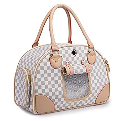 BETOP HOUSE Fashion Dog Carrier PU Leather Dog Handbag Dog Purse Cat Tote Bag Pet Cat Dog Hiking Bag from BETOP HOUSE