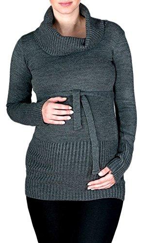 Happy Mama. Damen Umstands Strick-Tunika Jumper Pullover Rollkragen Gürtel.  358p Graphit