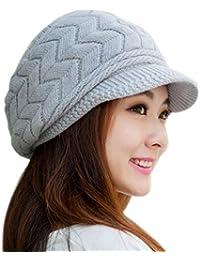 JiaMeng Sombrero Mujer Sombreros de Invierno Gorro Moda Invierno Skullies Gorros  Sombreros de Punto Gorro de 0b7ed69ac88