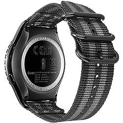 Fintie Correa para Galaxy Watch 42mm / Gear Sport/Gear S2 Classic - 20mm Pulsera de Repuesto de Nylon con Cierre Ajustable para Smartwatch Reloj, Rayas Negras y Grises