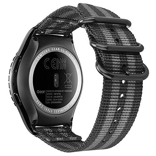 Fintie Armband kompatibel mit Galaxy Watch 42mm / Galaxy Watch Active/Huawei Watch 2 / Gear Sport/Gear S2 Classic - Nylon verstellbares Sport Ersatzband mit Edelstahlschnallen, Schwarz/Grau