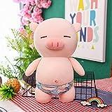 luludsoo Peluches de Peluche Rellenos, decoración de la habitación, bebé Mayor, Cerdo Deportivo 40 cm (0,34 kg) Trunks de natación Azul Claro