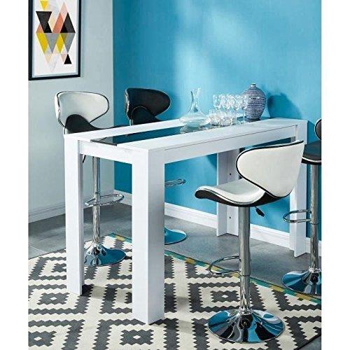 DAMIA-Table-a-manger-haute-4-a-6-personnes-150×70-cm-Blanc-et-noir