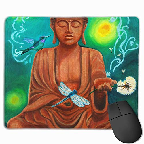 Spa Decor Asian Buddha Lotus Zen Personalized Design Mauspad Gaming Mauspad with Stitched Edges Mousepads, Non-Slip Rubber Base, 300 x 250 x 3 mm Thick - Best Gift Idea