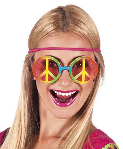 Halloweenia - Oversize Flower Hippie Brille Sonnenbrille Kostüm, Mehrfarbig
