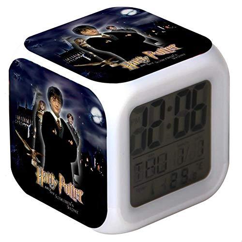 Big Free Tech Reloj Despertador electrónico Harry Potter,indicador de la Temperatura de la Fecha Reloj Despertador con Luces de Noche Coloridas Reloj niños,003