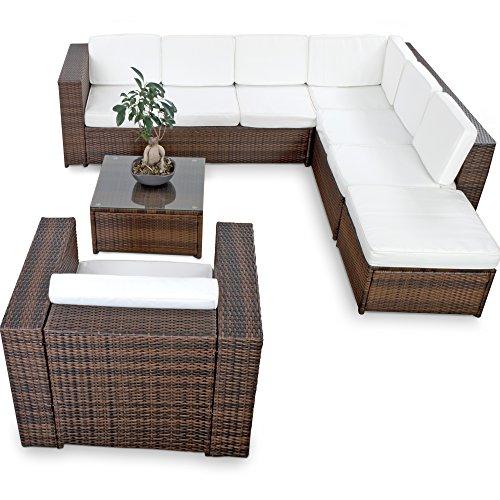 XINRO® XXL 22tlg. Gartenmöbel Lounge Set günstig + 1x (1er) Lounge Sessel - Lounge Möbel Polyrattan Sitzgruppe Garnitur - in/Outdoor - mit Kissen - handgeflochten - Braun