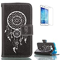 Samsung Galaxy Core Prime SM-G360 PU Leather Wallet Case [with Free Screen Protector],KaseHom Stylish Elegant White Printed Patten Folio Book Style Magnetic Closure Stand Function with Card Slots and Cash Holder Shockproof Synthetic Faux Leather Full Body