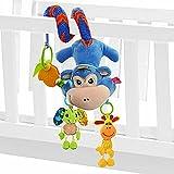 SOZZY - Juguetes Colgantes Espiral de Animales para Cuna Cochecito Carrito bebés Recien nacidos Peluche con Mordedor Sonido para niños niñas arrastrar - Azul - Mono