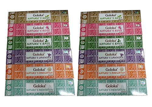 Goloka - varillas de incienso, varios colores, 12 cajas de 15 g Incluye: Goloka Nature's Nest, Goloka Nature's Lavender Incense, Goloka Nature's Rose, Goloka Nature's Meditation, Goloka Nature's Parijatha, Goloka Nature's Basil. 2 paquetes de 6 diferentes