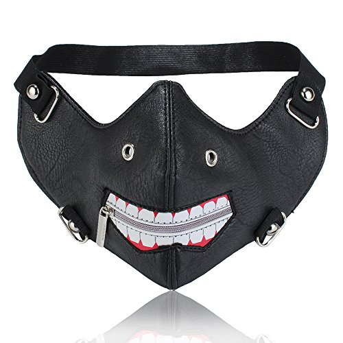 Lcdy maschera in pelle lucida maschera locomotiva punk personalizzata maschera protezione solare antipolvere tendenza personalità maschera di spugna montata sulla testa, 24 * 15 cm