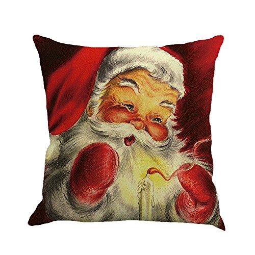 TEBAISE 45X45cm 1 STÜCK Weihnachten Baumwolle Leinen Sofa Car Home Taille Kissenbezug Dekokissen Fall Festival Karneval Fasching Fasnacht Zierkissen Zierkissenschutzbezüge Zierkissenbezüge