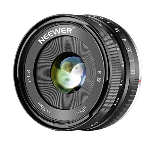 Neewer 32mm F/1.6 Manual Focus Prime Lens Sharp High Aperture for Sony E-Mount APS-C Mirrorless Camera like SONY NEX A7III A9 NEX 3 5 5T NEX 5R 6 7 A5100 A6000 A6100 A6300 A6500