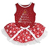 Petitebelle Rhinestone Christmas Tree Cotton Shirt Tutu Puppy Dog Dress (Red/Red Snowflakes, XX-Large)